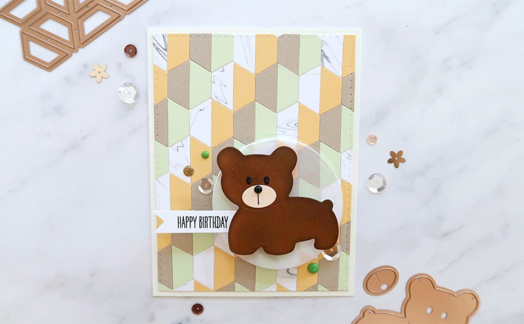 Adorable Birthday Card Ft. Half Hex Quilt & Bear Scout