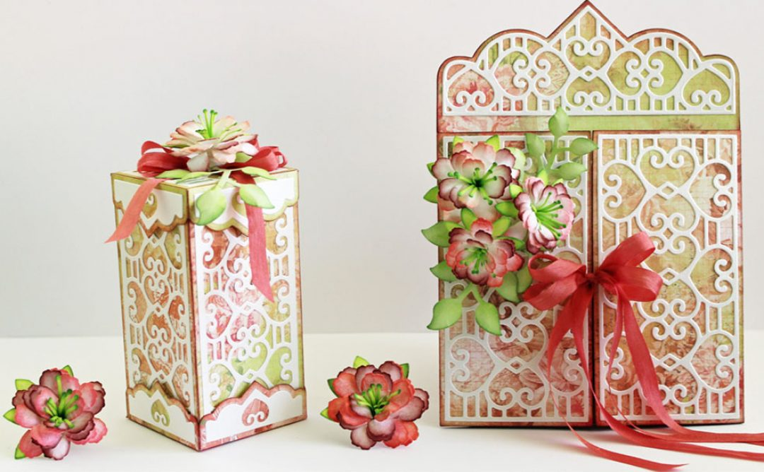 Double Heart Card & Box Ensemble with Rolled Flowers