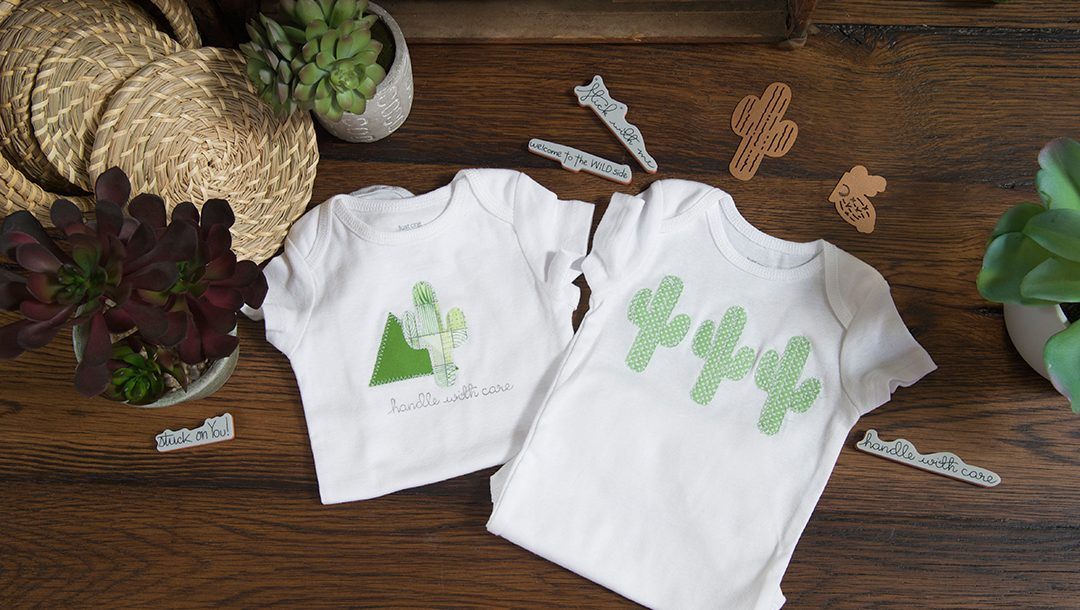 Creating a Cactus Baby Onesie using Cactus Die by Debi Adams for Spellbinders