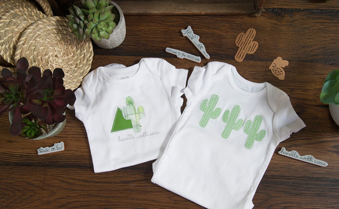 Creating a Cactus Baby Onesie using Cactus Die by Debi Adams
