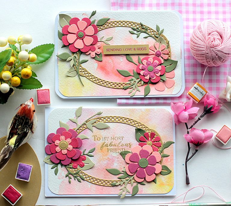 Handmade Floral Cards with Die D-Lites by Elena Olinevich for Spellbinders. Dies used - S2-269 Flower Power, S2-271 Plants, S5-327 Annabelle's Trousseau Layering Frame Medium. #spellbinders #diecutting #handmadecard