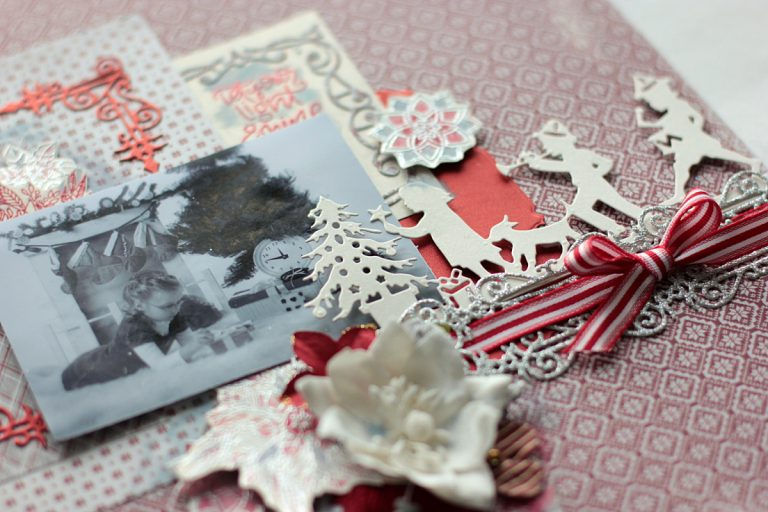 Christmas Presents Scrapbook Layout with Elena Olinevich for Spellbinders using S4-768 Swirls Strip, S4-823 Presents, S5-307 A2 Swirls Frame dies and SDS-095 Mandalas, SDS-097 Light Shine stamp and die sets by Stephanie Low. #spellbinders #scrapbooking #layout #christmaslayout