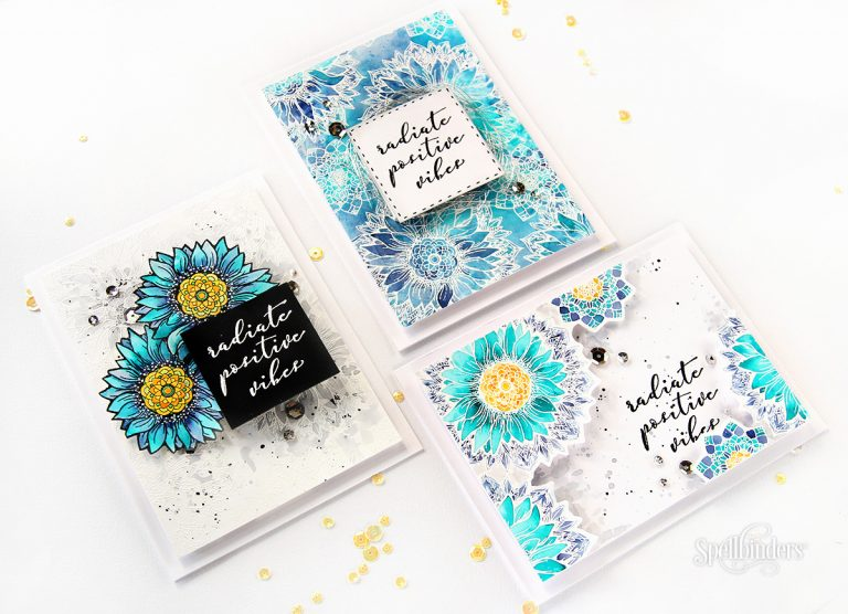 Sunflower Cool Vibes Stamp & Die Set designed by Stephanie Low. Handmade cards by Erum Tasneem for Spellbinders #spellbinders #cardmaking #stamping #watercolor
