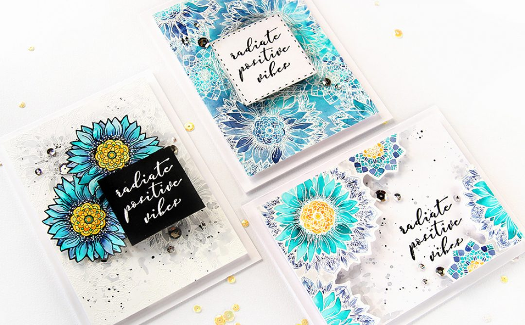 Trio of Cards Using Sunflower Cool Vibes with Erum