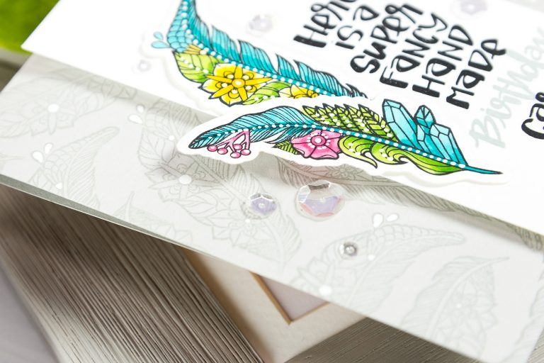 Spellbinders Super Fancy Handmade Birthday Card by Yana Smakula using SDS-100 Feathers Cool Vibes by Stephanie Low Stamp and Die Set #cardmaking #birthdaycard #stamping #handmadecard