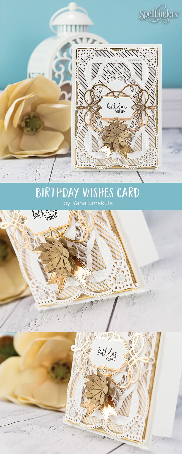 Cardmaking Inspiration | Birthday Wishes Card created by Yana Smakula for Spellbinders. Using S4-819 LILLY PEARL FLAT FOLD FLOWER/BORDER, S4-820 Vintage Pierced Banners, S5-329 HANNAH ELISE LAYERING FRAME SMALL, S6-130 CORALENE'S CHEMISE LAYERING FRAME LARGE dies by Becca Feeken #diecutting #spellbinders #cardmaking