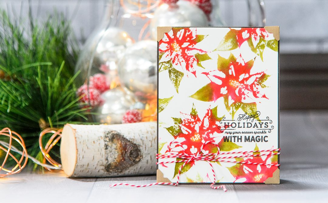 Video: Faux Watercolor Stamping with Poinsettia Holiday 3D Shading Stamp