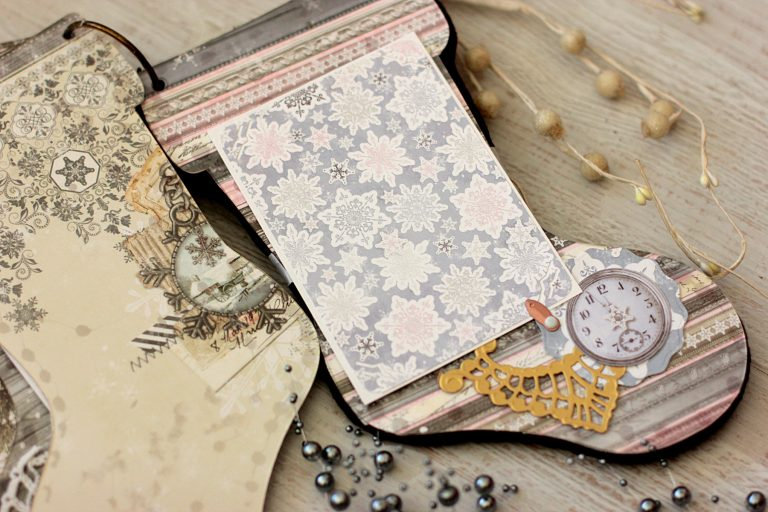 Stocking Mini Album with Elena Olinevich for Spellbinders using S4-767 Twirling Vines, S4–818 Eliza lace Corners dies #spellbinders #scrapbooking #christmasalbum