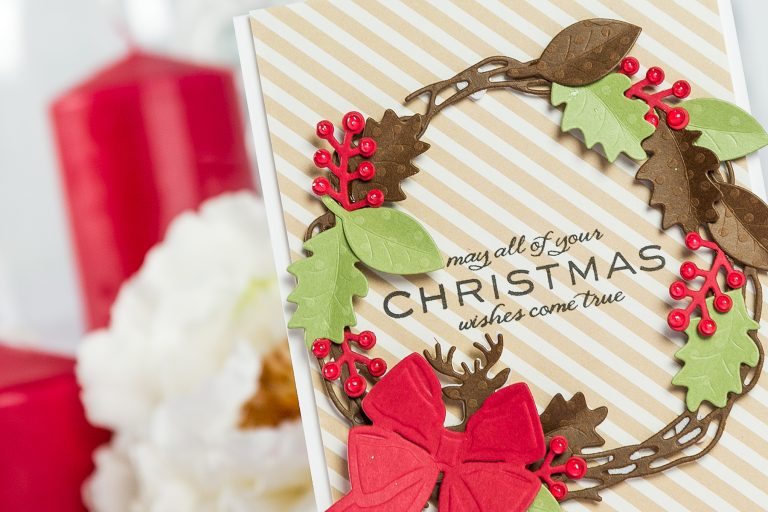 Cardmaking Inspiration | Christmas Wishes Card by Yana Smakula using Lene Lok Four Seasons Collection for Spellbinders #spellbinders #christmascard #cardmaking