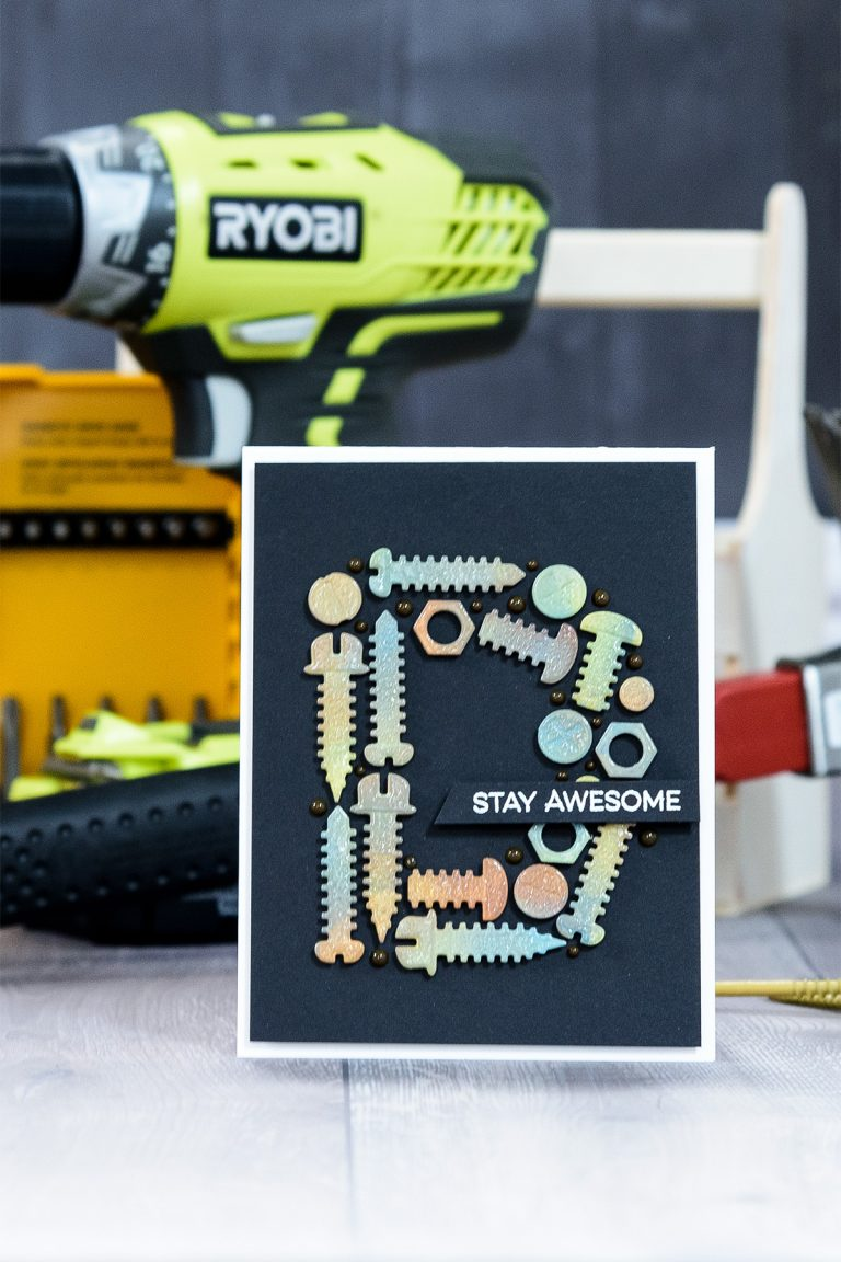 Cardmaking Inspiration | Masculine Stay Awesome Card by Yana Smakula for Spellbinders using S2-288 Bolts & Nuts. #spellbinders #guycard #cardmaking #diecutting