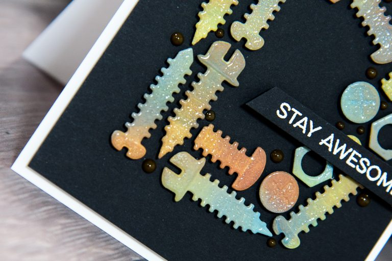 Cardmaking Inspiration   Masculine Stay Awesome Card by Yana Smakula for Spellbinders using S2-288 Bolts & Nuts. #spellbinders #guycard #cardmaking #diecutting