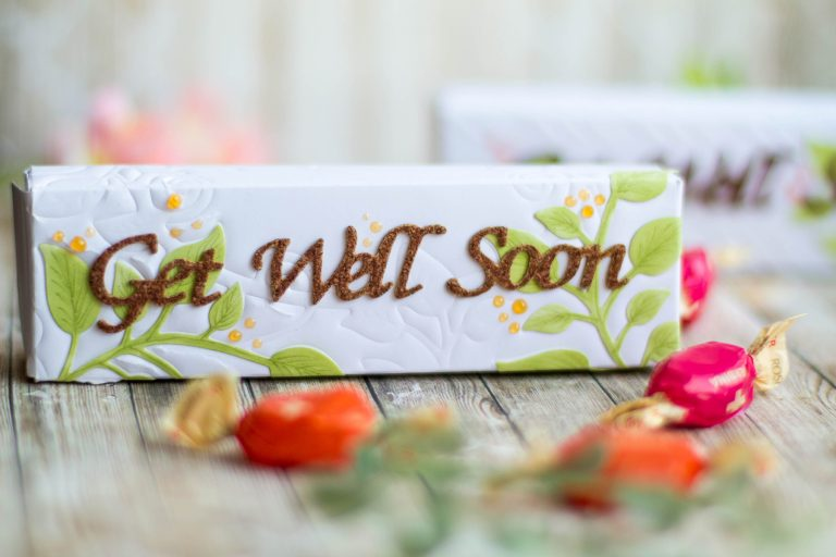 Thoughtful Expressions Collection by Marisa Job for Spellbinders - Inspiration | Get Well Soon Boxes with Elena Salo using S4-831 Get Well Soon Scalloped Circle, S5-336 Blessing Wine Frame, S6-072 Texture Plate Art Deco, S6-133 Just For You Box dies #spellbinders #diecutting #neverstopmaking