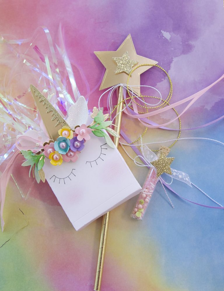 DIY Party Continues with a Unicorn Theme Using Dies and Stamps by Debi Adams using S4-092 Star, S4-579 Floral Berry Accents, S4-728 Bag N Tag, SDS-052 Peas N Carrots, SDS-114 Wink, Wink #spellbinders #unicornparty #diecutting