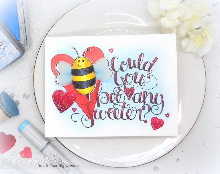 Spellbinders Video Friday | Dimensional Valentine with Kelly Latevola. Using SDS-104 Bee Any Sweeter, S4-814 Prim Hearts, S3-313 Love Letter. #spellbinders #stamping #diecutting #neverstopmaking #lovecard