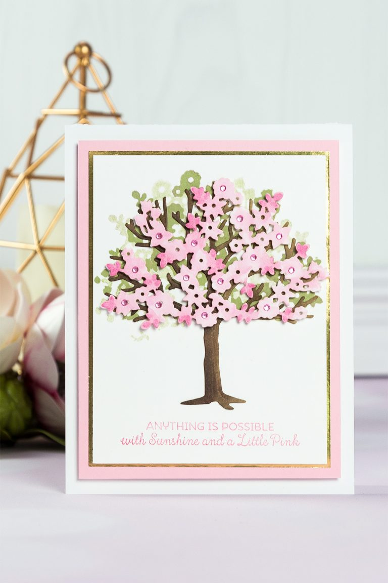 Cardmaking Inspiration | Little Pink Tree Card by Beth Reames for Spellbinders using S4-840 Four Seasons Tree, S4-841 Spring Canopy & Elements dies #cardmaking #spellbinders #diecutting #handmadecard #neverstopmaking