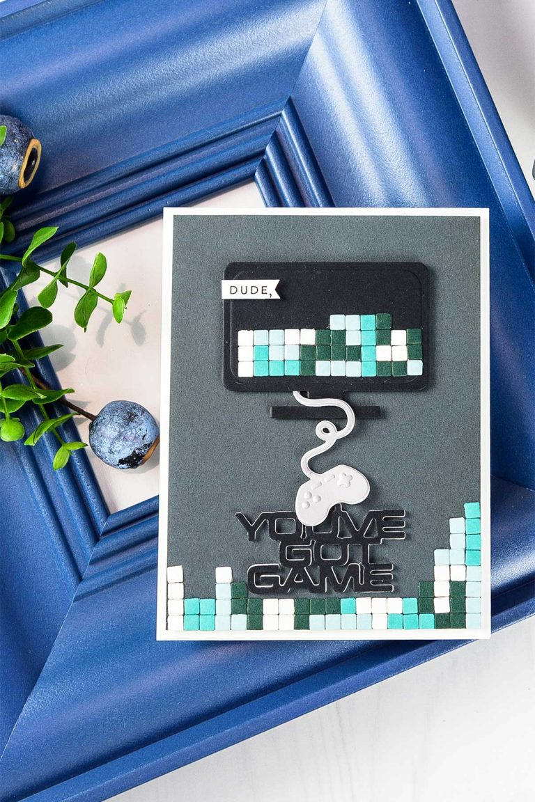Cardmaking Inspiration | You've Got Game Card by Yana Smakula for Spellbinders. Using: S3-310​ ​You've​ ​Got​ ​Game​, S5-330​  ​Lunette Arched​ ​Borders​ dies. #spellbinders #neverstopmaking #diecutting #handmadecard #gamercard #papercrafting