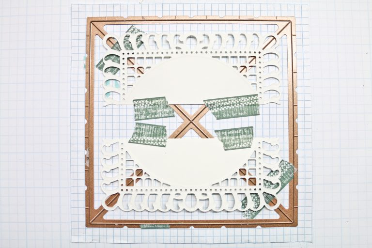 Let's Get Squared Up - From Rectangle to Square Card by Becca Feeken for Spellbinders using  S6-112 Graceful Frame Maker,  S6-129 Bella Rose Lattice Layering Die, S5-332 Hemstitch Ovals,  and S4-867 Cinch and Go Flowers III #spellbinders #diecutting