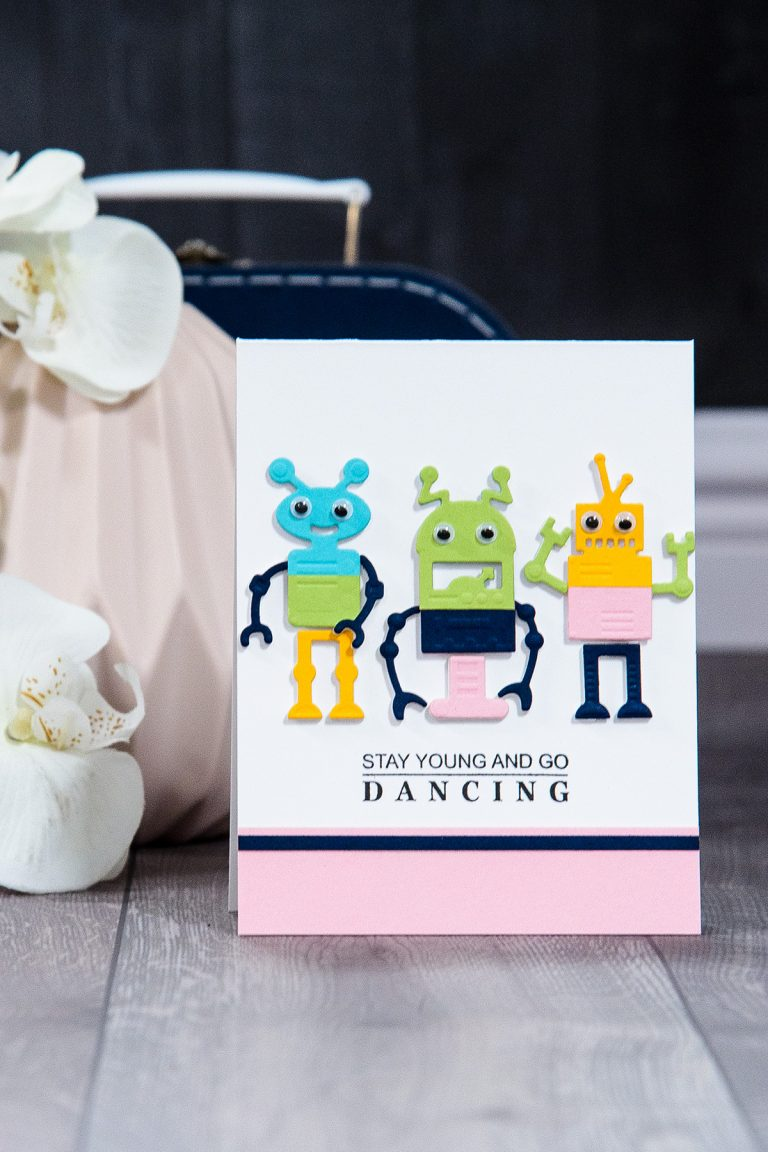Spellbinders Stay Young and Go Dancing Card by Yana Smakula using S3-309 Robots dies. #cardmaking #diecutting #spellbinders #neverstopmaking