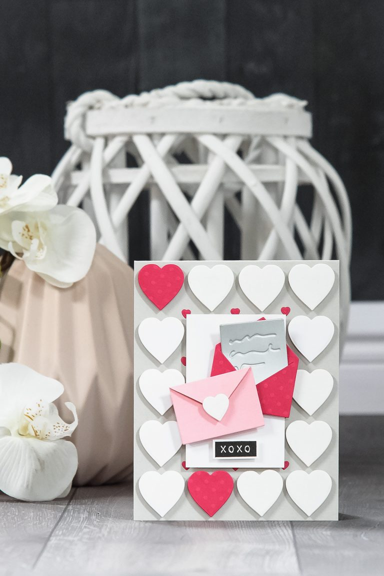 Cardmaking Inspiration | XOXO Card by Yana Smakula for Spellbinders using S3-313 Love Letter #spellbinders #valentinesdaycard #cardmaking #diecutting #neverstopmaking