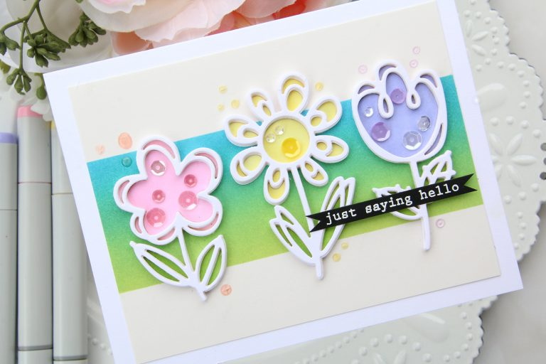 Die D-Lites Inspiration | Floral Card with Brenda Noelke for Spellbinders using S3-332 Sketched Blooms #spellbinders #cardmaking #handmadecard #diecutting