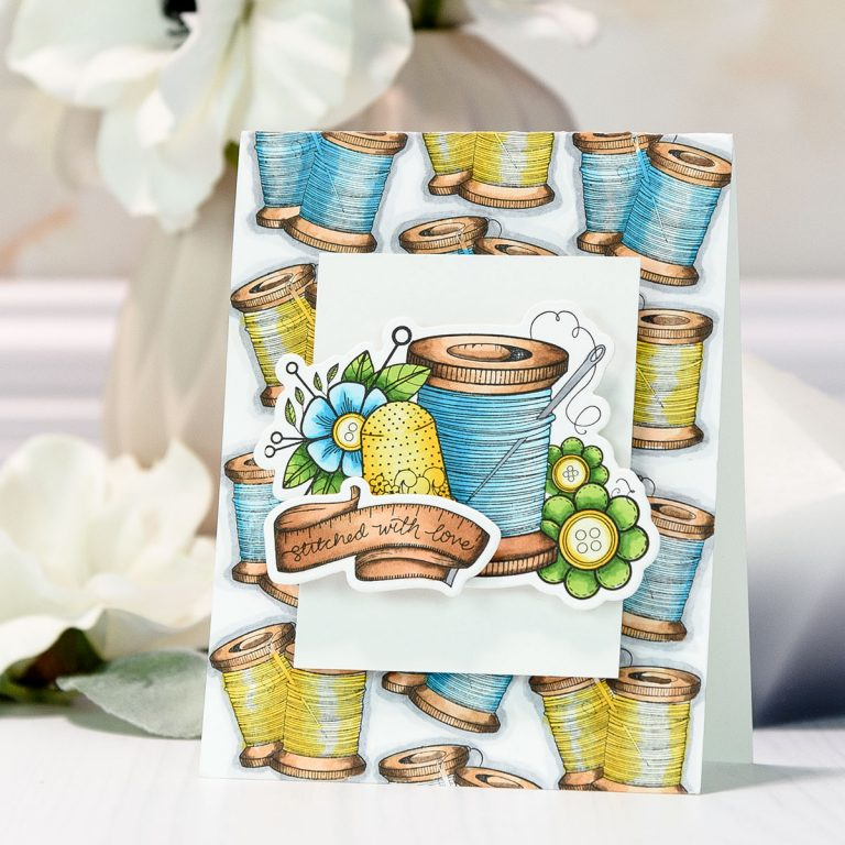 Spellbinders Handmade Collection by Stephanie Low - Inspiration | Stitched With Love card by Yana Smakula for Spellbinders using SDS-075 – Sew Handmade Stamp and Die Set by Stephanie Low #cardmaking #spellbinders #stamping #adultcoloring