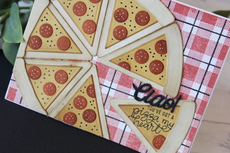 Die D-Lites Inspiration | Pizza My Heart Party Food. Video tutorial by Nichol Spohr for Spellbinders using S3-321 Party Food. #spellbinders #diecutting #handmadecard #neverstopmaking