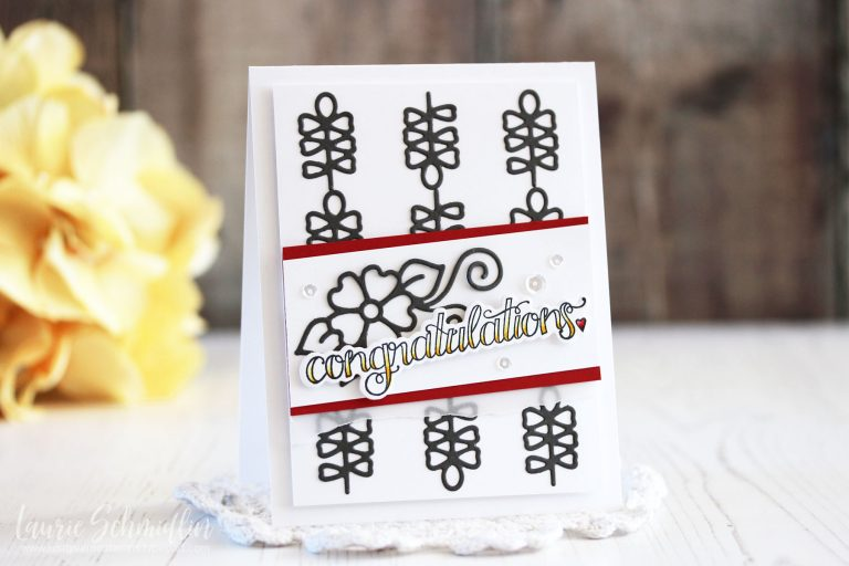 Die D-Lites Inspiration | Dainty Florals Congratulations Cards with Laurie for Spellbinders using:S2-293 Dainty Florals, SDS-106 Sentiments 1 #spellbinders #diecutting #handmadecard #stamping