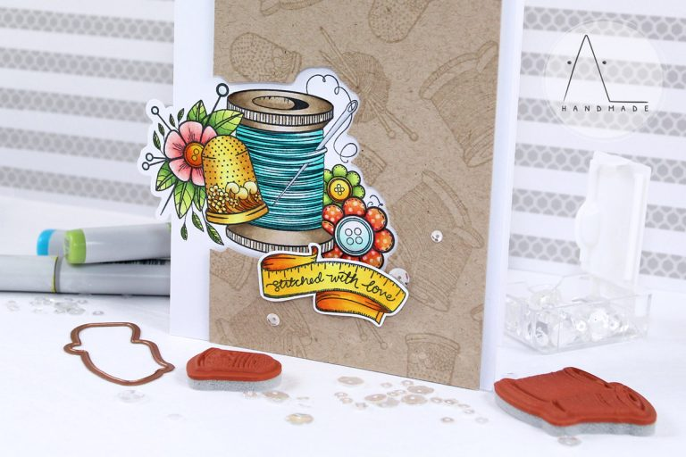 Handmade Collection by Stephanie Low Inspiration   Sew Handmade Card with Anna using SDS-072 Yarn, SDS-075 Sew stamps & dies #stamping #cardmaking #spellbinders #neverstopmaking