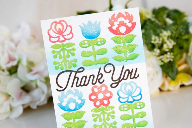 Folk Art Collection Inspiration | Nordic Blooms Card with Keeway for Spellbinders using S4-885 Nordic Blooms dies #spellbinders #diecutting #handmadecard #cardmaking