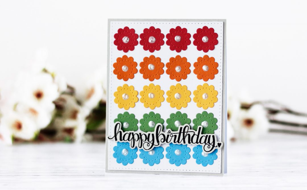 Classics March Collection Inspiration | Colorful Floral Card with Kaja for Spellbinders using S4-903 Fancy Edged Circles, S4-904 Scored and Pierced Rectangles, SDS-106 Sentiments 1 #spellbinders #diecutting #handmadecard #cleanandsimple