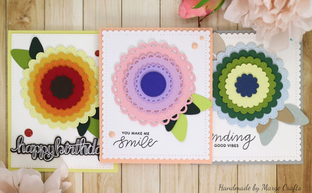 Classics March Collection Inspiration   More Simple Card Ideas with Marge for Spellbinders using: S4-902 Scored and Pierced Circles, S4-903 Fancy Edged Circles, S4-904 Scored and Pierced Rectangles, S4-905 Fancy Edged Rectangles, S4-907 Fancy Edged Ovals, S4-910 Open Scallop Edge Circles, S4-911 Fancy Scallop Edge Circles, S5-317 Textured Flowers, SBS-085 Thinking of You, SDS-106 Sentiments 1 #cardmaking #diecutting #handmadecard #spellbinders