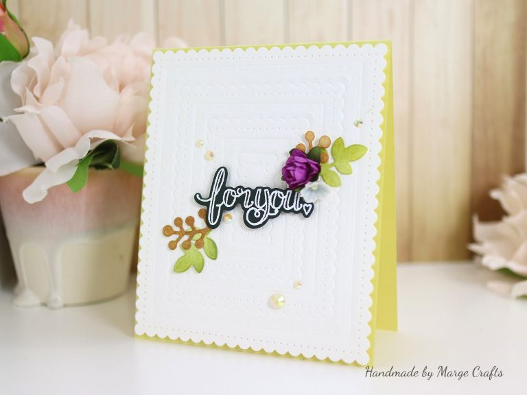 Classics March Collection Inspiration | Dry Embossed Cards with Marge for Spellbinders using S5-317 Textured Flowers, S5-338 Wreath Elements, S4-904 Scored and Pierced Rectangles, S4-905 Fancy Edged Rectangles, SDS-106 Sentiments 1, SDS-107 Sentiments 2 #spellbinders #diecutting #handmadecard #neverstopmaking