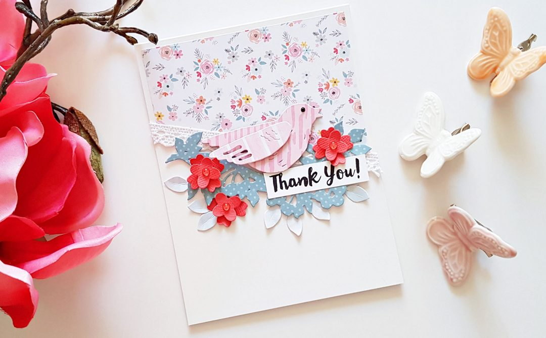 Flower Garden collection by Sharyn Sowell Inspiration | Simple Floral Cards with Zsoka for Spellbinders using S2-285 Bird on Cherry Branch, S4-847 Card Creator Floral Panel Card dies #spellbinders #diecutting #handmadecard