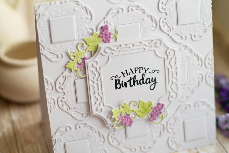 Happy Birthday Card by Elena Salo for Spellbinders using Wine Country Collection. S4-878 Frame Charms, S4-879 Labels 59, S4-880 Label 59 Decorative Accents, SDS-134 Wine Glass Bottle #spellbinders #diecutting #handmadecard #birthdaycard #neverstopmaking
