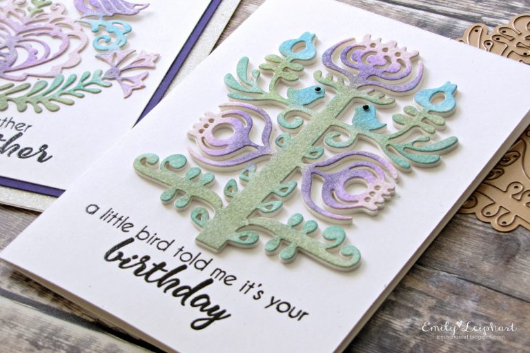 Folk Art Collection by Lene Lok - Inspiration | Rosemal Heart & Nordic Tree Highlight by Emily Leiphart for Spellbinders using  S4-883 Nordic Tree and S4-887 Rosemal Heart dies #spellbinders #neverstopmaking #diecutting #handmadecard