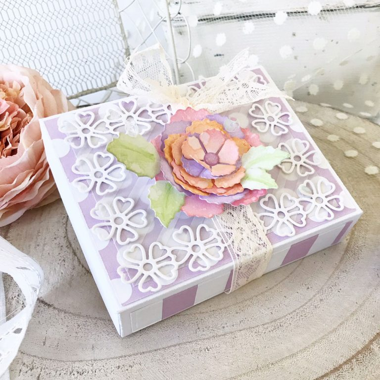 Blooming Garden Collection by Marisa Job - Inspiration | Floral Box by Melissa Phillips for Spellbinders using S4-916 Blooming Rose, S6-146 Heart Flower Box. #spellbinders #neverstopmaking #diecutting #giftbox