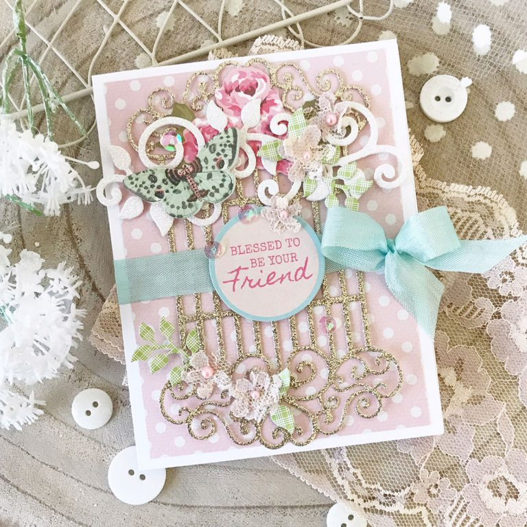 Blooming Garden Collection by Marisa Job - Inspiration | Swirl Lattice Card by Melissa Phillips for Spellbinders using S4-917 Swirl Lattice Panel, S2-296 Swirl Leaf Branch, S6-147 Swirl Hexagon Petal Box #diecutting #neverstopmaking #diecutting #marisajob #handmadecard