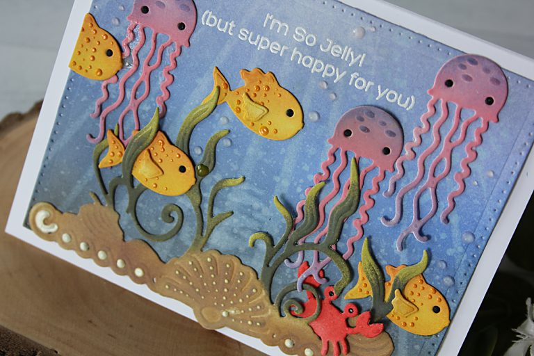 Video Friday   Inking White Die Cuts Ocean Scene Card with Nichol for Spellbinders. Using: S4-671 Sea Life Accents, S3-257 Sea Animals, S4-904 Scored and Pierced Rectangles #spellbinders #diecutting #handmadecard #neverstopmaking
