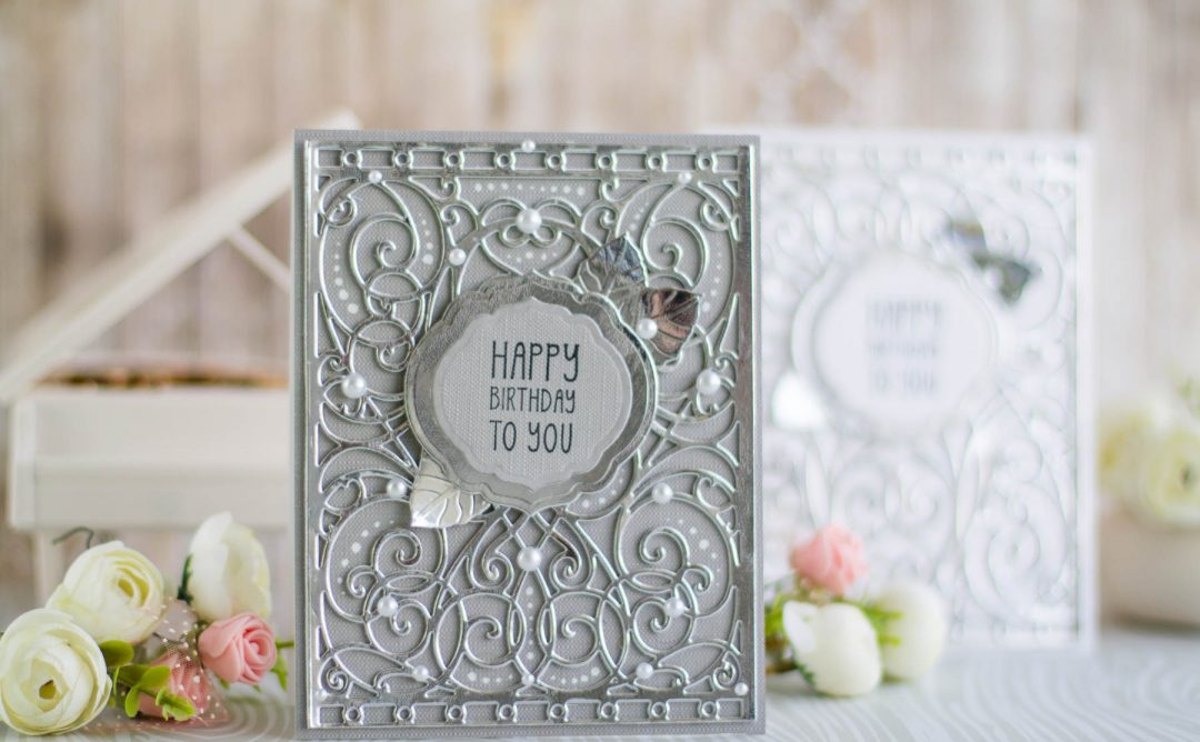 Romancing The Swirl Collection by Becca Feeken - Inspiration   Happy Birthday Card with Elena for Spellbinders using: S4-930 Curvy Labels S5-364 A2 Corner Cotillion S5-366 A2 Swirl Background #spellbinders #neverstopmaking #cardmaking #diecutting #handmadecard