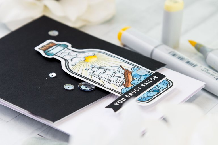 Spellbinders Inked Messages Collection Inspiration | You Saucy Sailor Card Featuring Message In A Bottle Stamp and Die Set #stephanielow #spellbinders #neverstopmaking #stamping #handmadecard