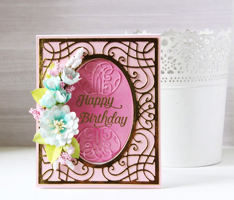 Romancing The Swirl Collection by Becca Feeken - Inspiration | Floral Gift Box and Card with Hussena for Spellbinders using: S4-926  Swirl Tags S4-929 Hemstitch Squares S5-363  Swirl Booklet Insert SDS-116 Oh Happy Day #spellbinders #neverstopmaking #cardmaking #diecutting #handmadecard