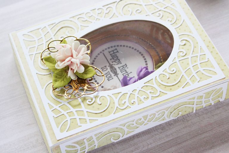 Romancing The Swirl Collection by Becca Feeken - Inspiration | Gift Box and Card with Hussena for Spellbinders using: S4-927 Trefoil Crest S4-928 Hemstitch Circle S5-363  Swirl Booklet Insert  S5-364  A2 Corner Cotillion S5- 365 Sweetheart Swirl #spellbinders #neverstopmaking #cardmaking #diecutting #handmadecard