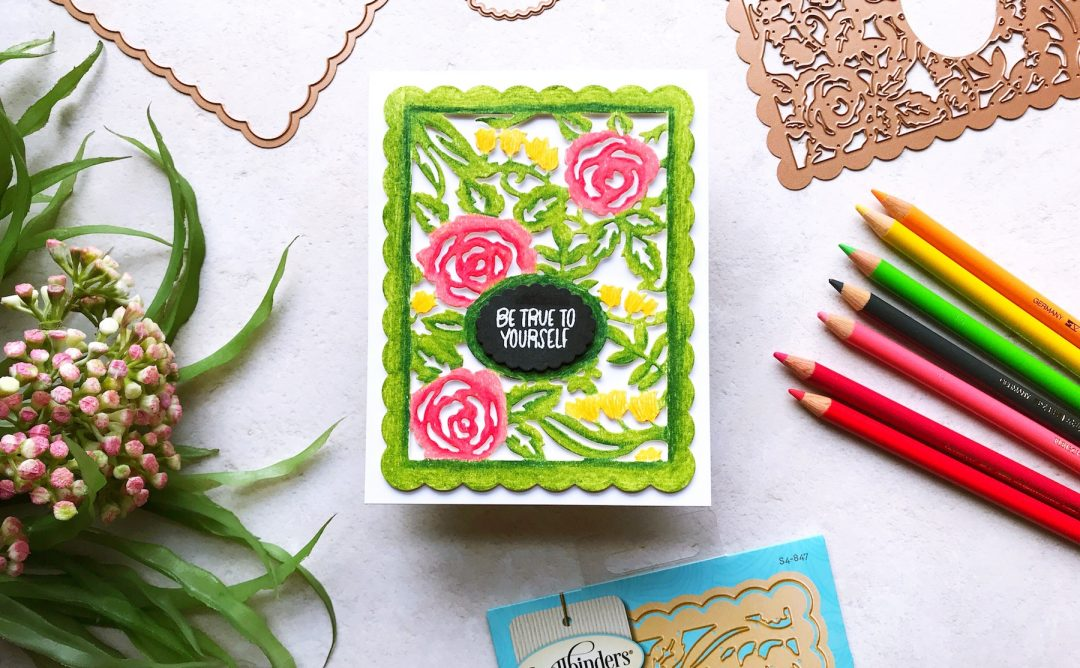 Flower Garden Collection by Sharyn Sowell - Inspiration | Be True to Yourself Card by Ruby for Spellbinders. Using: S4-487 Card Creator Floral Panel Card. #spellbinders #neverstopmaking #diecutting #handmadecard #spellbindersdies