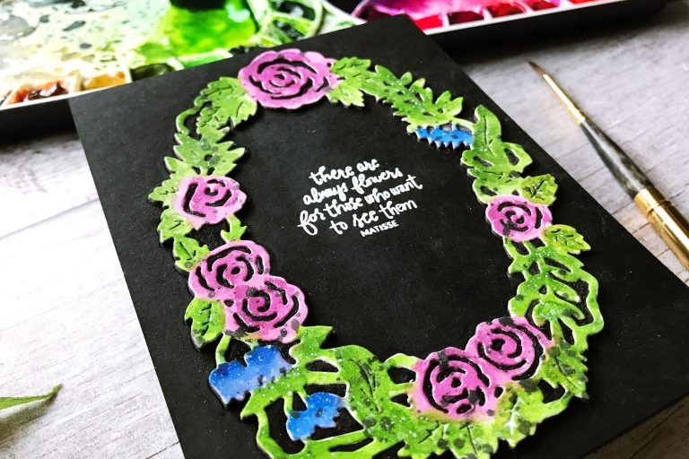 Flower Garden collection by Sharyn Sowell - Inspiration | Floral Wreath by Ruby for Spellbinders using S4-851 Dimensional Floral Panel #spellbinders #neverstopmaking #diecutting #handmadecard