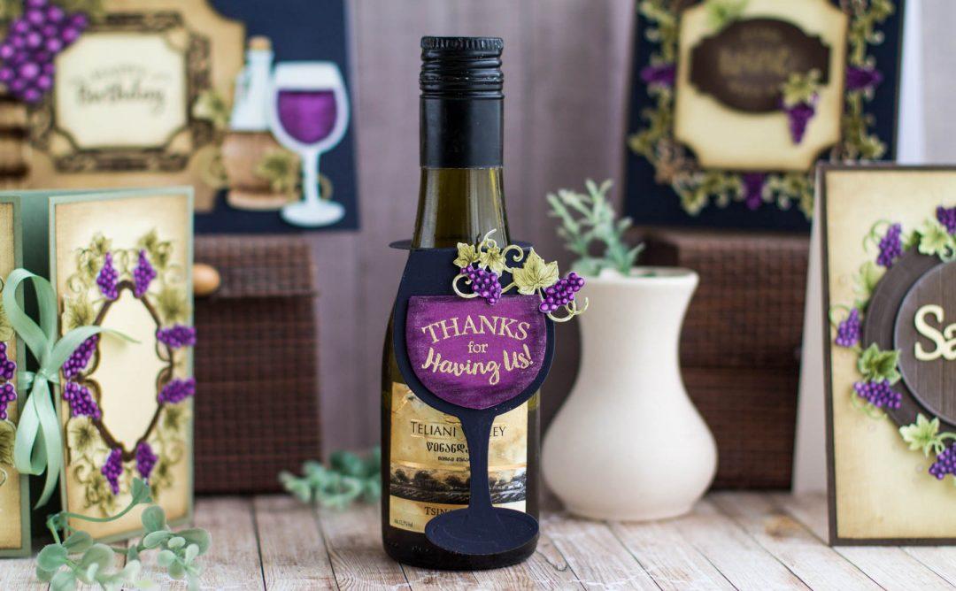 Cardmaking Inspiration | Wine Bottle Tag by Elena Salo for Spellbinders. SDS-134 Wine Glass Bottle Tag. #spellbinders #diecutting #handmadecard #neverstopmaking
