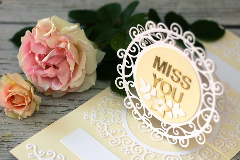 Video Friday   Pop-Up Card with Frame Dies with Olga for Spellbinders. S5-376 Miss You Swirl, S5-374 Special Day Frame, S4-942 Swirls Border, S5-338 Wreath Elements, S5-132 A-2 Matting Basics B dies. #spellbinders #marisajob #diecutting #handmadecard #neverstopmaking