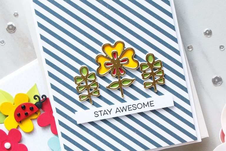 Cardmaking Inspiration | Stay Awesome Card Featuring Dainty Florals by Yana Smakula for Spellbinders. S2-293 Dainty Florals #spellbinders #diecutting #handmadecard #neverstopmaking