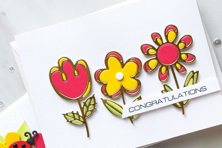 Cardmaking Inspiration | Congratulations Card Featuring Sketched Blooms by Yana Smakula for Spellbinders. S3-322 Sketched Blooms. #spellbinders #diecutting #cardmaking #handmadecard #neverstopmaking