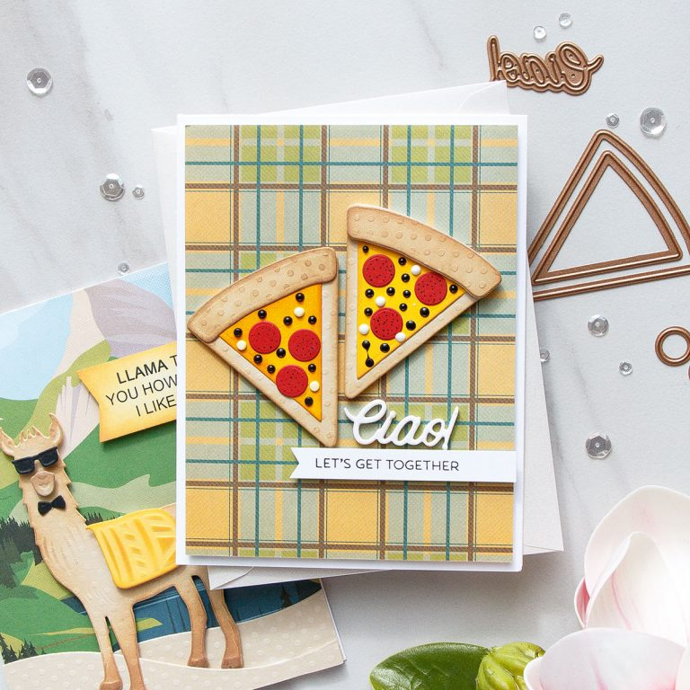 Cardmaking Inspiration | Let's Get Together Card Featuring Party Food by Yana Smakula for Spellbinders. S3-321 Party Food #spellbinders #cardmaking #diecutting #handmadecard #neverstopmaking