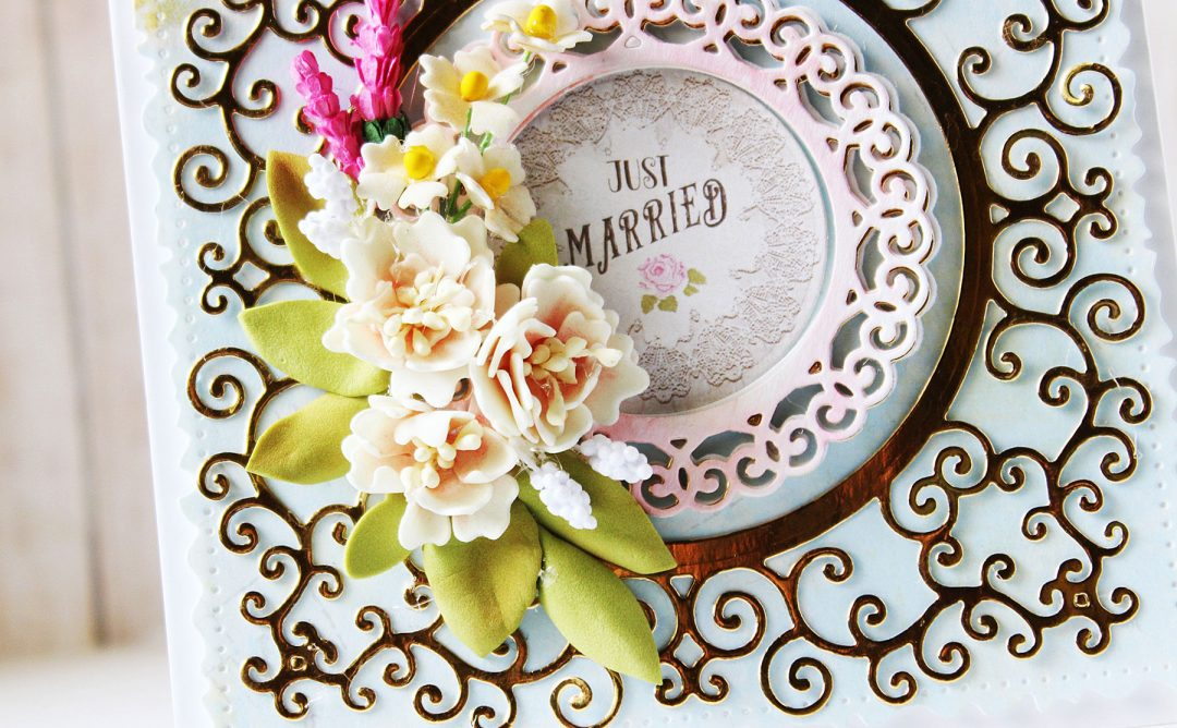 Special Moments Collection by Marisa Jov - Inspiration   Layered Cards by Hussena for Spellbinders. Dies used: S4-116 Standard Circles SM, S4-942 Swirls Border, S4-944 Floral Lace Border, S5-374 Special Day Frame, S5-378 Floral Oval, S7-215 Vintage Stitched Squares dies #spellbinders #diecutting #handmadecard #neverstopmaking #marisajob